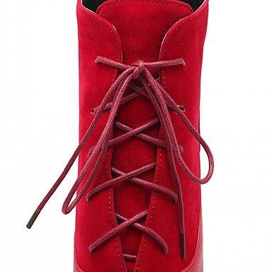 Damen Schuhe Kunstleder Herbst Winter Komfort Neuheit Modische Stöckelabsatz Stiefel Stiefel Stöckelabsatz Modische Spitze Zehe Booties / Stiefeletten ROT 645591