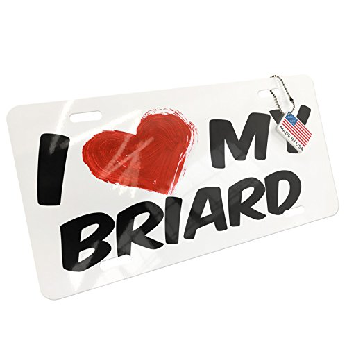(NEONBLOND Metal License Plate I Love my Briard Dog from France)