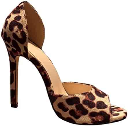365dea3b8d Fashare Womens Peep Toe Leopard Pumps Shoes Stilettos High Heels Slip On  D'Orsay Party
