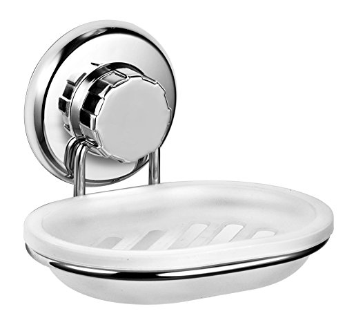 HASKO accessories Vacuum Suction Cup Soap Dish Holder Strong Stainless Steel Sponge Holder for Bathroom & Kitchen - Soap Caddy Can be Mounted on Any Clean Flat Smooth Surface – (Chrome)