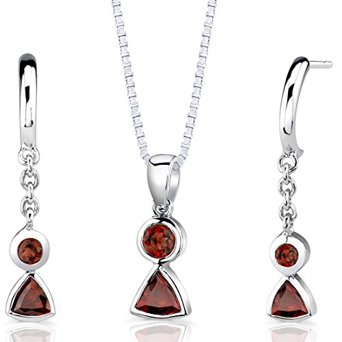 (Garnet Pendant Earrings Necklace Sterling Silver Rhodium Nickel Finish Round Shape 1.75 Carats)