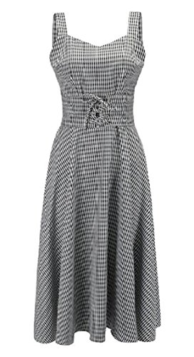 Women's 3 Flare Cocktail Party Plaid Swing Dress Classic and Sleeveless Fit Jaycargogo 7wqgnp1Rp