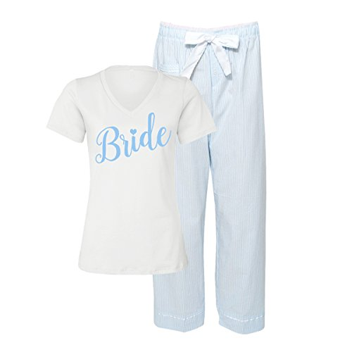 Something Blue Bridal Pajama Set (Medium (6/8)) Bridal Shower Outfit