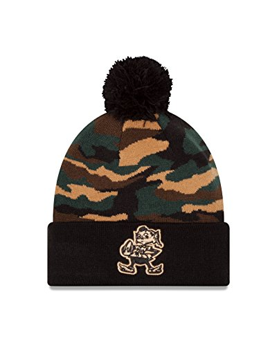 - New Era NFL Cleveland Browns Captivate Woodland Pom Beanie, One Size, Camo