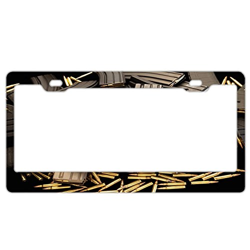 - Army Bullet Clip License plate frame For Women, Luxury Waterproof Premium Stainless Steel Licence Plate for Front and Back License