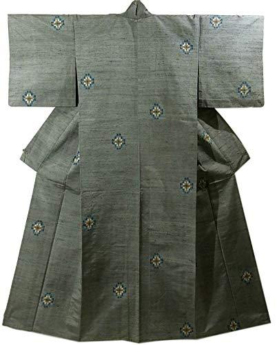 遊びます農学包帯リサイクル 着物 紬 ひとえ カラフルな菱文様 裄64.5cm 身丈167cm 正絹