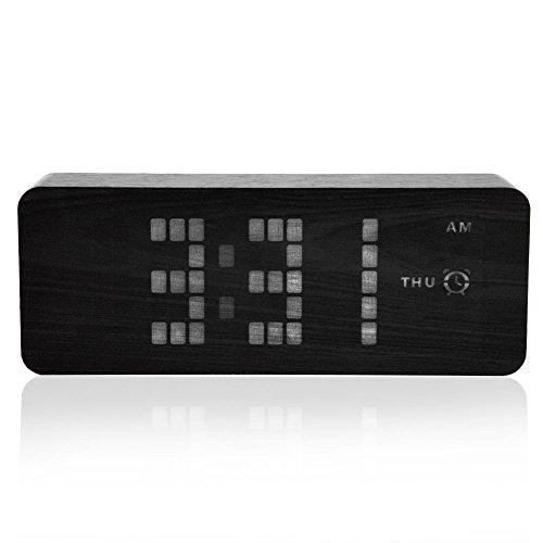 fosa Digital Alarm Clock, USB Wooden LED Alarm Clock Voice S