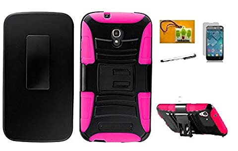 Alcatel One Touch Pop Mega LTE A995G / A995L, LF 4 in 1 Bundle, Hybrid Armor Stand Case with Holster and Locking Belt Clip, Stylus Pen, Screen Protector & Wiper For Alcatel One Touch Pop Mega LTE A995G / A995L (Holster (Alcatel A995g Lte Phone Cover)