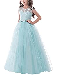Girl Sleeveless Chiffon Embroidered Tulle Wedding Party Gown Girls Dress