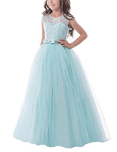 TTYAOVO Girls Pageant Ball Gowns Kids Chiffon Embroidered Wedding Party Dress Size 6-7 Years Green for $<!--$24.99-->