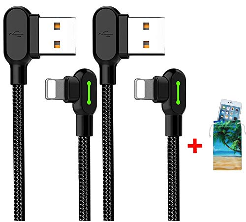 (2 Pack + iPhone Bag) USB 90 Degree Right Angle Design Gaming iPhone LED Nylon Braided Sync Charge New USB Reversible Data 6FT/1.8M Cable Compatible iPhone/iPad Pro/Air, iPad Mini, iPod (6FT Black) mcdodo 4336735539