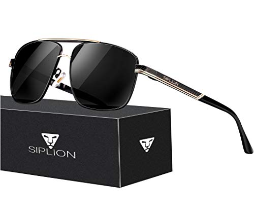 (SIPLION Men's Driving Polarized Rectangular Square Sunglasses Metal Frame 1823 Black)