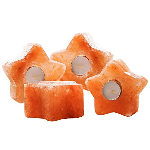 4 PCS Himalayan Salt Candle Holders, Star Shape Crystal Salt Rock by Hand Carved Use as Tea Lights,Decorations,Gifts ()
