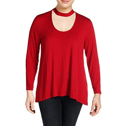 (Vince Camuto Womens Long Sleeve Choker Mock Neck High-Low Hem Top True Crimson SM One Size)