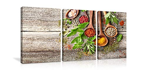 (Kitchen Pictures Wall Decor Colorful Spices in Wooden Spoons on Grey Wooden Table Paintings Prints Canvas Wall Art 3 Pieces Posters Modern Dining Room Kitchen Decor Stretched and Framed Ready to Hang )