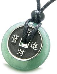 Amulet Lucky Coin Charm Donut Green Quartz Antiqued Pendant Necklace
