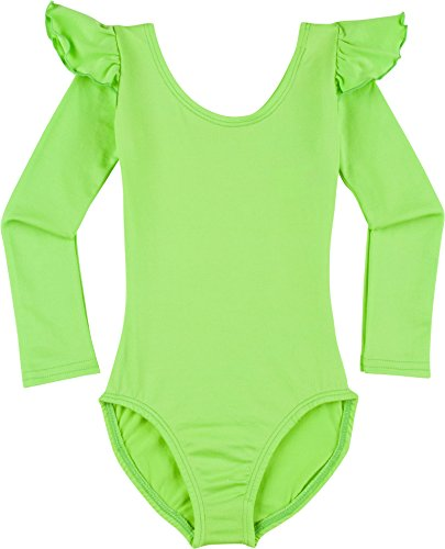 Toddler and Girls Leotard for Dance, Gymnastics and Ballet with Flutter Ruffle Long Sleeve Lime XS (2-3T)