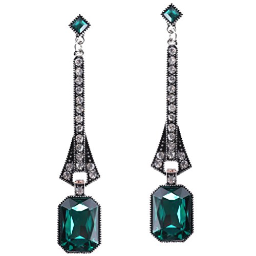 BABEYOND 1920s Flapper Earrings 20s Great Gatsby Earrings Vintage 20s Flapper Accessories Gatsby Costume Accessories (Green-1)]()