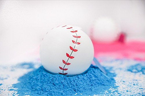 Gender Reveal Baseballs – 2 Pack Exploding Pink and Blue Smoke Bomb Powder Set – 1 Pink and 1 Blue Ball Baby Shower Sex Reveal Party Supplies by Adiona Childcare