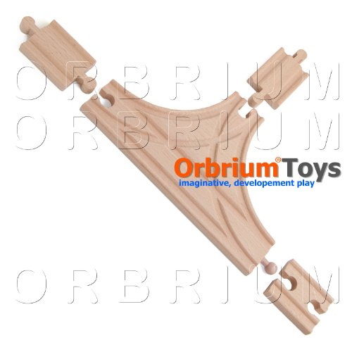 (4 Pcs Orbrium Toys T-Track with Female-Female and Male-Male Adapters Set for Wooden Railway Fits Thomas Bro Chuggington Melissa Doug Imaginarium)