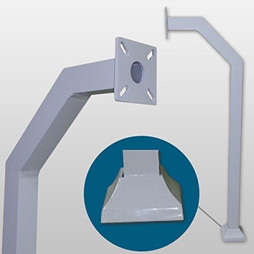 L.A. Ornamental Aluminum GooseNeck Pedestal Access control gate keypad mounting post (White)