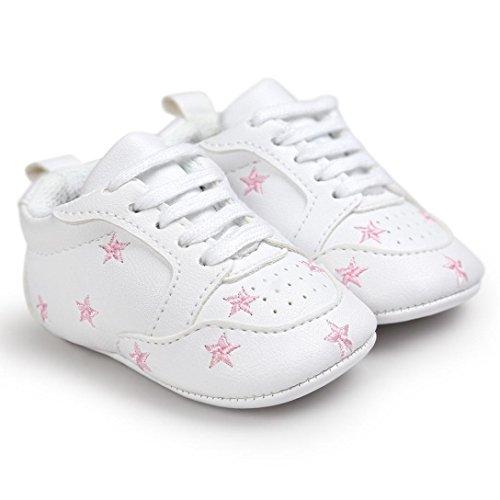 Tefamore Zapatos Bebé Ocasionales Zapatillas de Deporte del Niño del Vendaje de la Forma del Amor del Bordado del Suavemente Calza Rosa 2