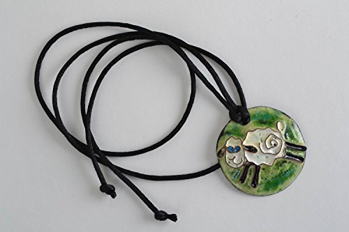 Handmade Designer Round Enameled Copper Pendant Necklace With Funny Lamb On Cord