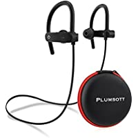 Wireless Bluetooth Headphones - Noise Cancelling w/ Mic Waterproof Earbuds - HD Stereo Headset w/ Strong Bass - Secure Fit Sweatproof Cordless Sports Earphones for Gym Running Workout 12 Hour Battery
