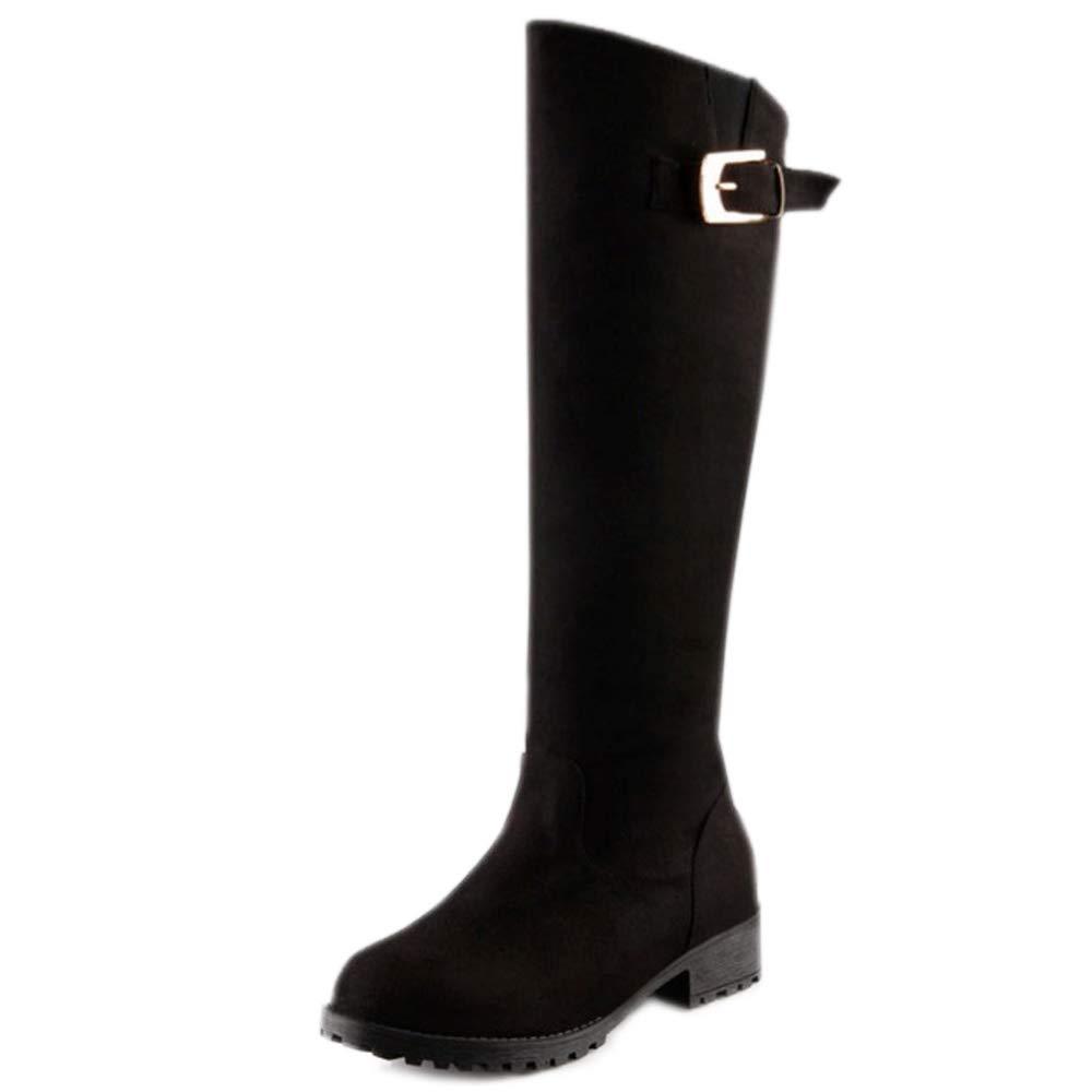 RAZAMAZA Chaussures Femmes B01MG43JP9 Décontractée Chevalier Boucle Bottes Bottes Faux Plat Martin Chaussures Noir 2e4eab0 - shopssong.space