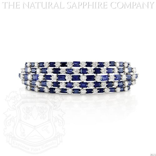 14K WHITE GOLD, SAPPHIRE AND DIAMOND BANGLE BRACELET (J4151) - Baguette Blue Sapphire Bracelet