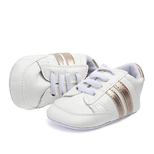 Nagodu Zapato Tenis Deportivo para Bebe Unisex, Blanco con lineas, excelente Calidad (11 cm, Dorado)