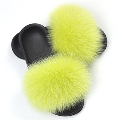 Zapatillas Msfs Blanda Piel Mujer De Multicolor Abierta Sandalias Yellow Punta Pluma Suela Chanclas qv1f1tc