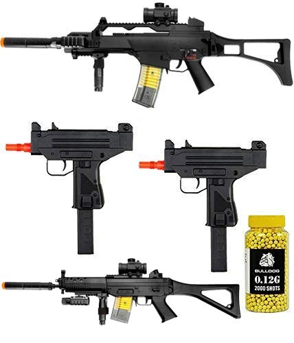 A&N Full Electric Airsoft Rifle Bundle- 4X Airsoft Electric Rifles- Pack of 2000 Yellow BB pellets (Best P90 Airsoft Gun)