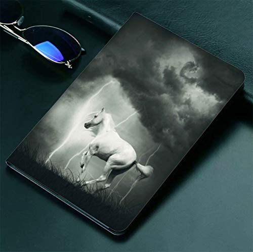 "iPad 9.7"" ipad2 3 4 Case Horses,Horse Running under Thunderstorm Clouds with Lightning Dreamy Dramatic Print,Black and White 360 degree swivel mount cover for automatic sleep wake up ipad case Anti-fa"
