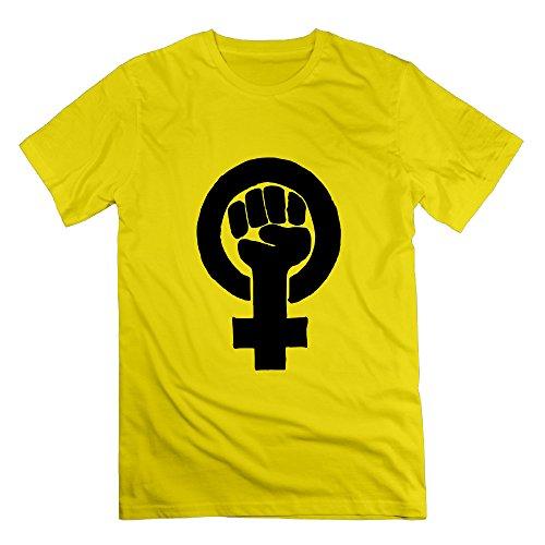 Feminist Yellow Men's Sport T Shirt For Men Size L