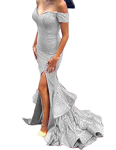 Scarisee Women's Mermaid/Trumpet Off-The-Shoulder Evening Dresses with Split Sequins Prom Party Gowns Silver 22 -
