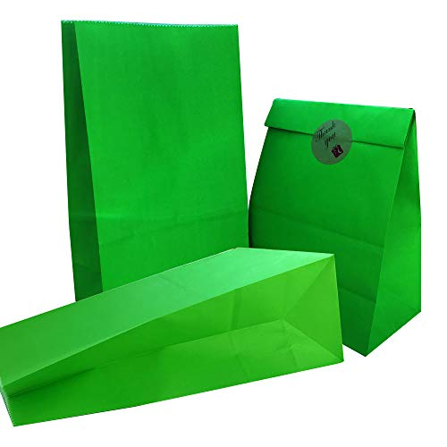 Party Bag 50 pcs Food Safe Kraft Paper and Ink, Natural (Biodegradable), Vivid Colored Candy Cookie Buffet Bags, Bottom Square Bag.Lime Green.with 48 pcs Thank You Stickers 1.5 inch. (Green Paper Favor Bags)