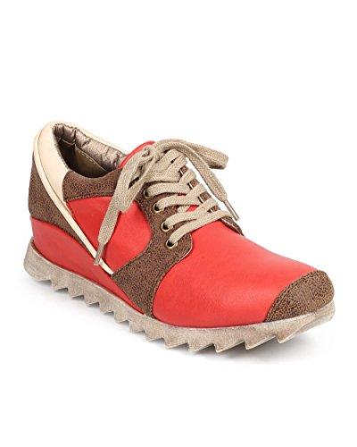 DbDk DB86 Women Distressed Leatherette Racing Stripe Lug Sole Sneaker – Coral (Size: 8.5)