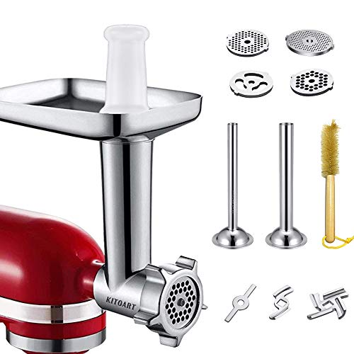 Metal Food Meat Grinder Attachments for KitchenAid Stand Mixers, KITOART Meat Grinder Attachment Compatible with KitchenAid Stand Mixers, including Sausage Stuffing Accessory, Cleaning Brush [ Newly Designed ] (Kitchen Aid Meat Attachment)
