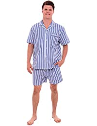 Mens Cotton Pajamas, Short Button-Down Woven Pj Set