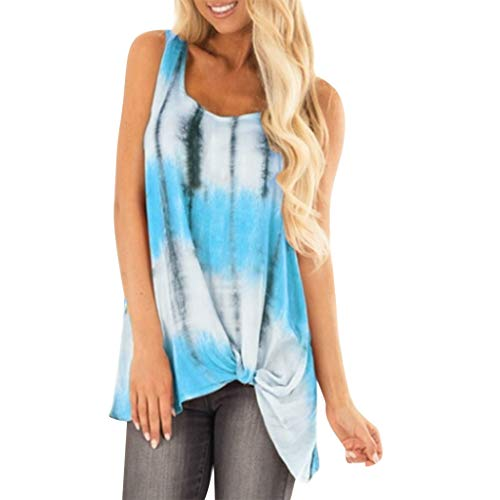 (Tantisy ♣↭♣ Women Plus Size O-Neck Sleeveless Twist Knot Vests Ladies Casual Loose Tank Tops Printed Blouses Blue)