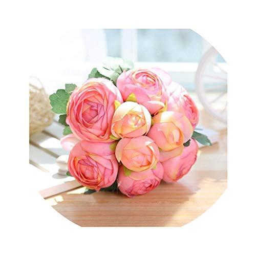 winkstores 20PCS Artificial Autumn Wheat Flower Bouquet Wreath Fake Flowers Decoration,9pcs Pink