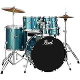 "Pearl Roadshow 5-piece Complete Drum Set with Cymbals - 22"" Kick - Aqua Blue Glitter"