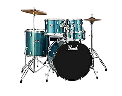 "Pearl Roadshow 5-piece Complete Drum Set with Cymbals - 22"" Kick - Aqua Blue Glitter best drum kits"