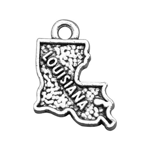 (4 Louisiana State Charms, Antique Silver Tone (1D-215))