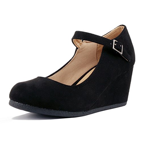 Guilty Shoes Womens Classic Mary Jane - Comfort Round Toe Buckle Low Heel Wedge Pumps-Shoes, Black Suede, 8 (Wedge Shoes Womens Heels Black)