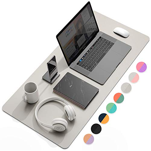 "YSAGi Multifunctional Office Desk Pad, Ultra Thin Waterproof PU Leather Mouse Pad, Dual Use Desk Writing Mat for Office/Home (31.5"" x 15.7"", Grey)"