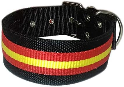 Tango and Tequila Collar para Perros Nylon Negro con Bandera España 5cm Ancho (75 cm): Amazon.es: Productos para mascotas