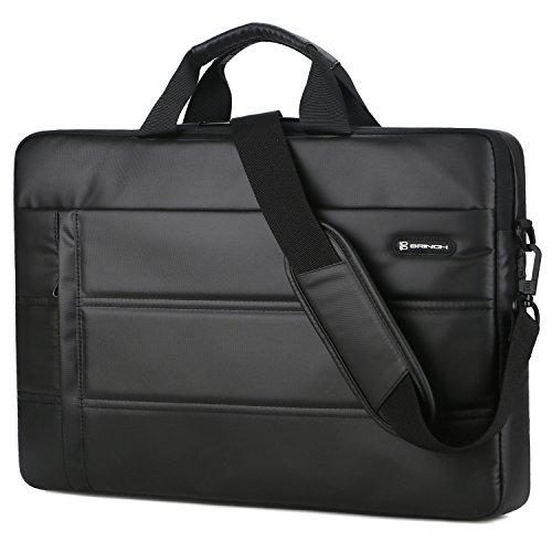 BRINCH Laptop Bag 15.6 Inch Messenger Bag Shoulder Bag Waterproof Easy Clean Business Briefcase Slim Laptop Carrying Sleeve Case with Strap for Men Women Fits 13-15 Inch Laptop/MacBook/Notebook,Black