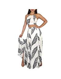 BingYELH Women Tops Womens 2 Piece Outfits Summer Floral Beach Crop and Side Slit Skirt Sexy Crop Top Set Club Dresses